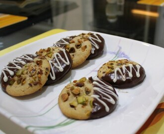 Cashew Pistachio Cookies dipped in Chocolate