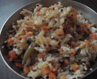 Cabbage & Carrot Palya  and  Spicy  Rice.