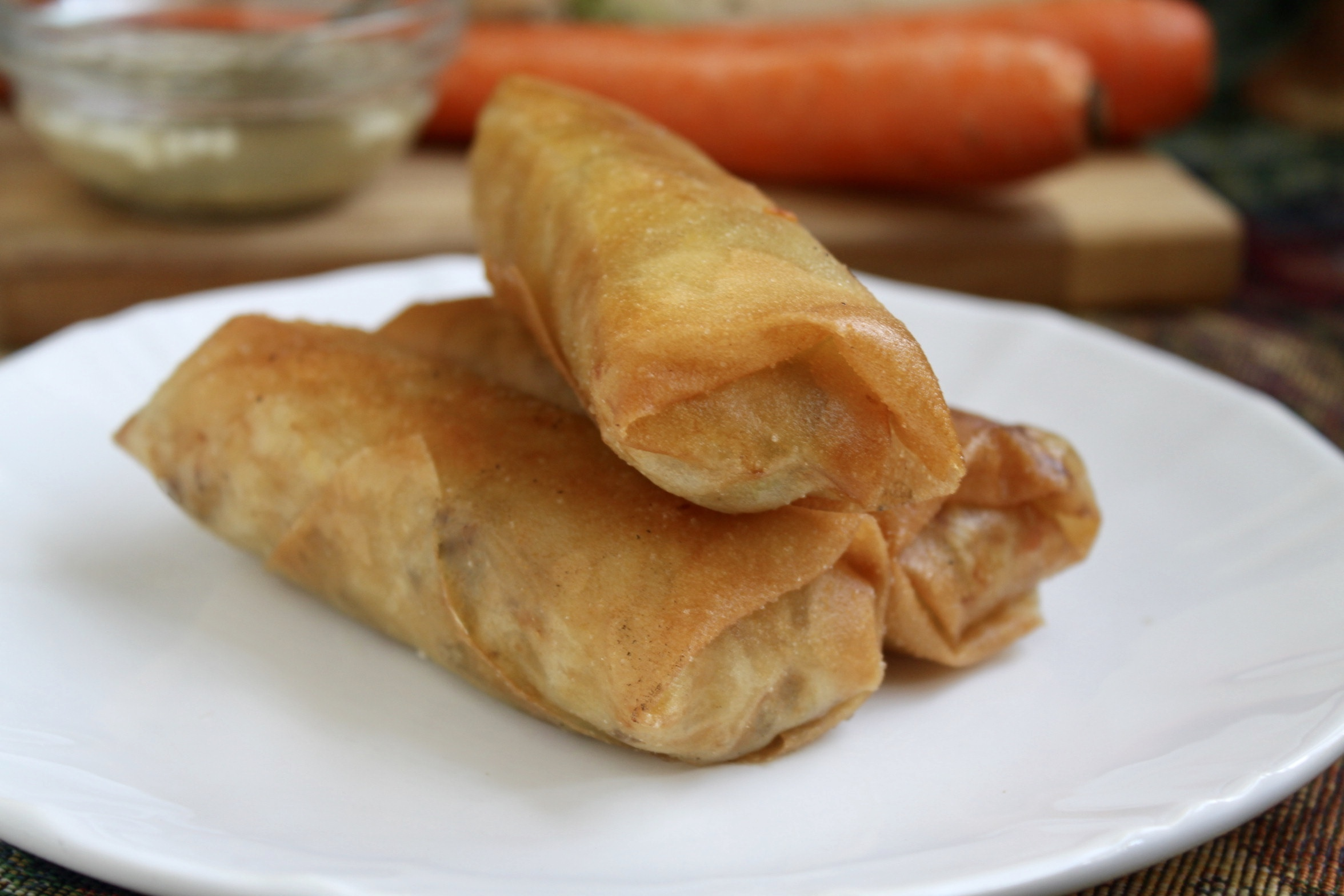 Filipino Lumpia with a Garlic and Black Pepper Vinegar Sauce