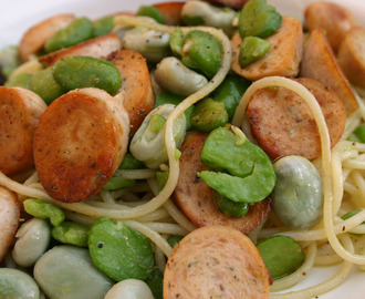 broad bean and sausage, spaghetti salad