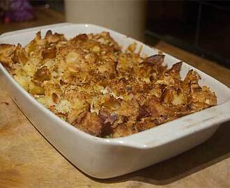 Easy left over turkey pie with crushed roast potato topping