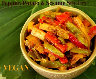 Bell Pepper, Potato & Sesame Stir Fry / Til Wale Aloo Shimla Mirch Ki Sabzi / Vegan Recipe