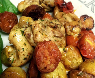 Chicken, chorizo & potato bake