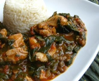 Chicken dhansak - chicken with green lentils...