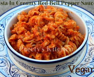 Pasta In Creamy Red Bell Pepper Sauce/ Vegan Recipe (Step By Step Pictures)
