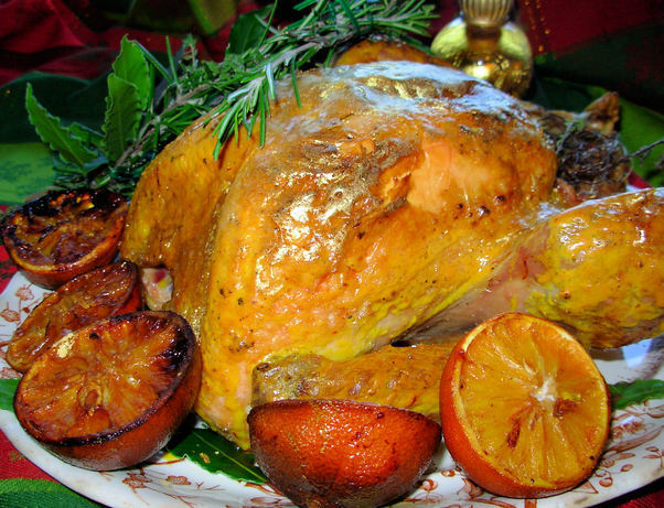 Historical Roast Turkey Recipe: Gilded Saffron & Butter Basted Turkey with Herb Garland