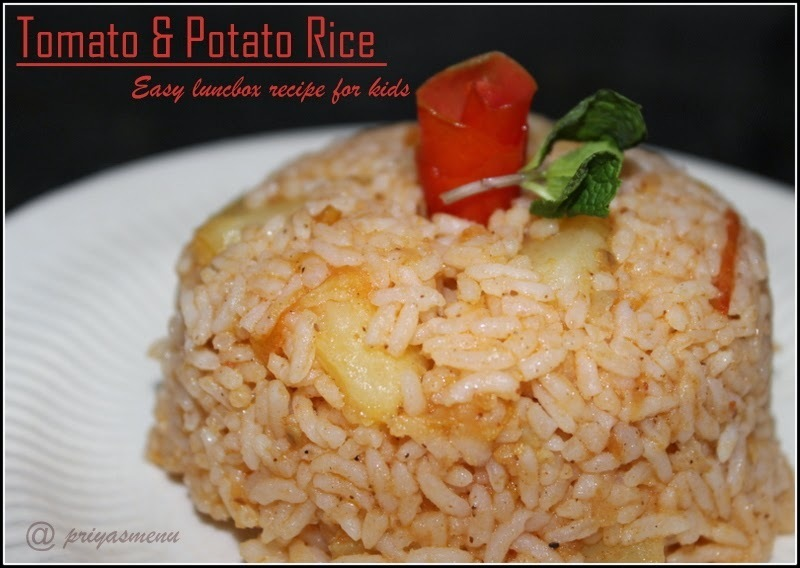 Tomato and Potato Rice - No onion - Lunch Box Varieties