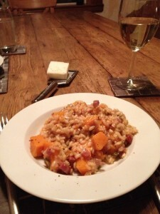 Roast squash and sage risotto with truffle oil