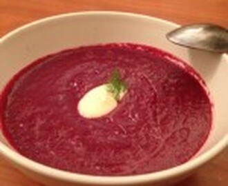 Roasted Beetroot Soup and Goats Cheese Cream