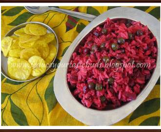 Simple Beetroot- Peas Rice | Kid's Lunch Box Recipe
