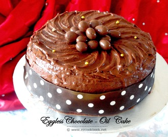 Eggless Chocolate-Oil Cake with Chocolate Buttercream Frosting