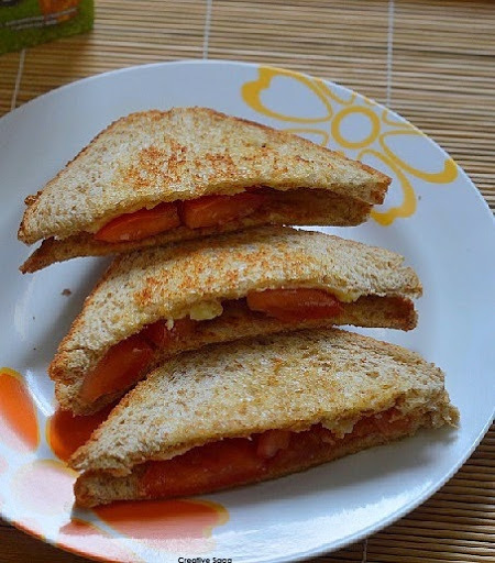 Super easy tomato cheese sandwich recipe - breakfast in 5 minutes- easy snack ideas