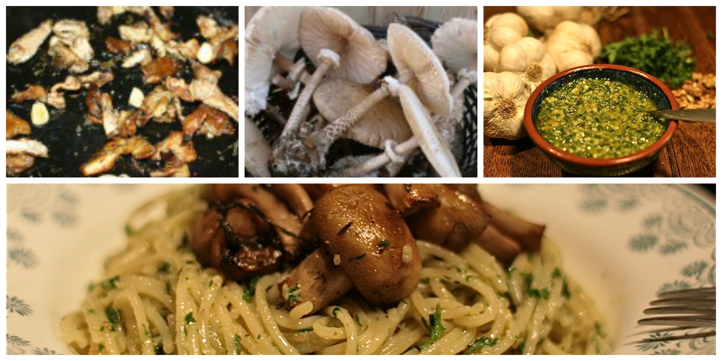 Stilton, Walnut & Parsley Pesto Spaghetti with Roasted Mushrooms (Serves 4)