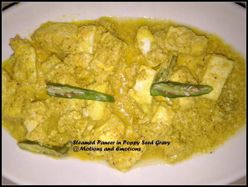Steamed Paneer (Cottage Cheese) in Poppy Seed Gravy/ Bhapa Paneer Posto