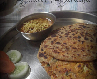 Paneer Paratha - Crumbled Indian Cottage Cheese Filling in Wholewheat Roti
