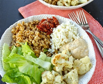 Lunch Bowls with Roasted Cauliflower, Farro, Hummus, Sun-dried Tomatoes & Feta