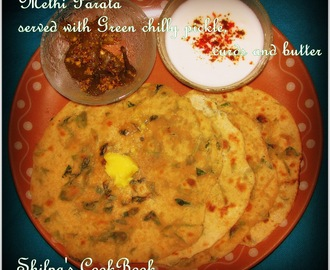 Methi Paratha or Indian Bread rolled with Fenugreek leaves