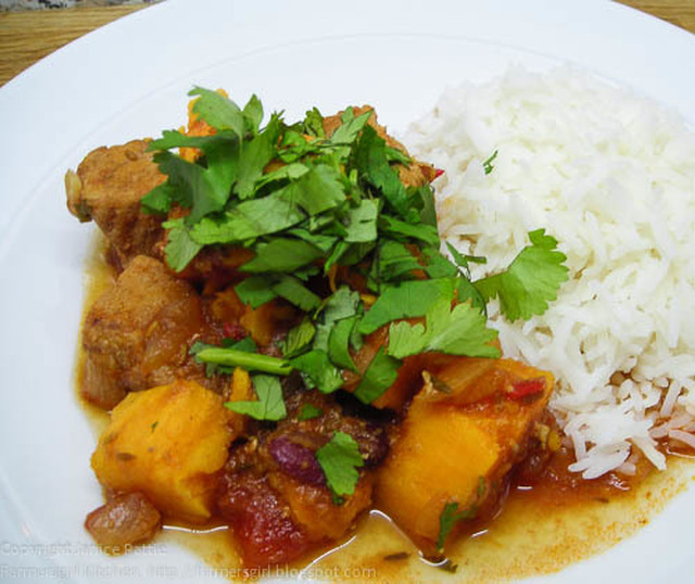 Spicy Pork stew with sweet potatoes and beans