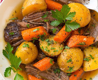 Mary's homemade pot roast with  carrots, garlic , potatoes, and onion.