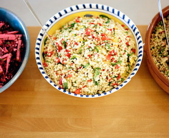 Orzo salad with roasted pepper, parsley, orange and pine nuts