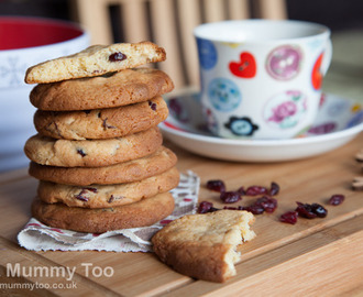 White chocolate and cranberry cookies (recipe)
