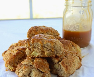 Whole Grain Apple Scones with Caramel Sauce