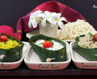 Lemon Rice, Curd Rice and Tamarind Rice with Curry Leaves Chutney - Andhra Special