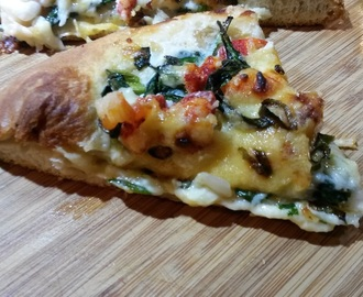 Lobster Pizza with Gouda, Spinach, Mushrooms