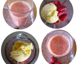 Batido de morango e gelado de baunilha/ Strawberry and vanilla ice-cream milkshake