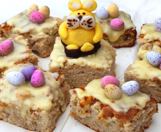 Apple and cinnamon cakes and a marzipan Easter bunny