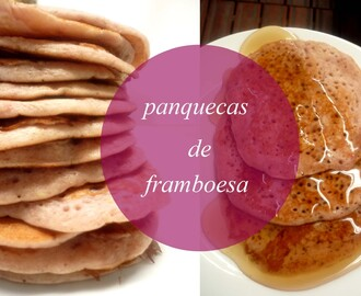 Panquecas de framboesa (com mel e gelado)/ Raspberry Pancakes (with honey and ice cream