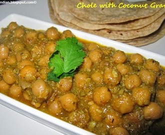 Chole (ChickPeas) with Coconut Gravy - South Indian Style /Chana Masala with Coconut Gravy