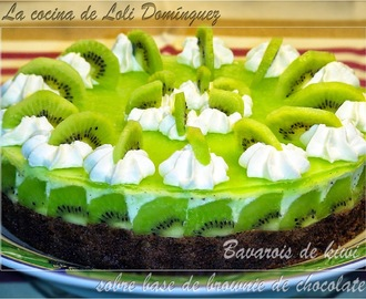 Bavarois de kiwisobre base de brownie de chocolate