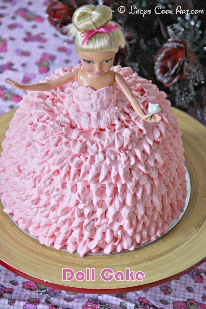 Doll Cake/ Barbie Cake/ Strawberry Cake with Whipped Cream Frosting (200th Post)