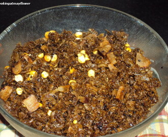 Aval Vilayichathu (Rice flakes with jaggery and coconut)
