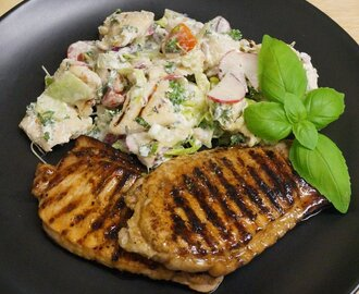 Lime Pork Chops with Fattoush - pushing the comfort zones