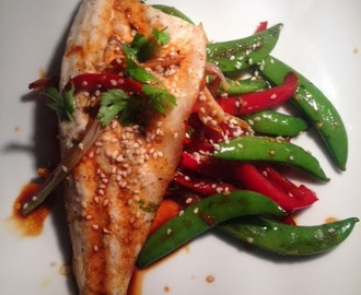 Grilled Sea Bass Fillets with Asian Stir-fried Vegetables