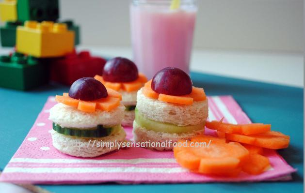 Novelty Kids Sandwiches ~ Cheese and cucumber Flower sandwiches