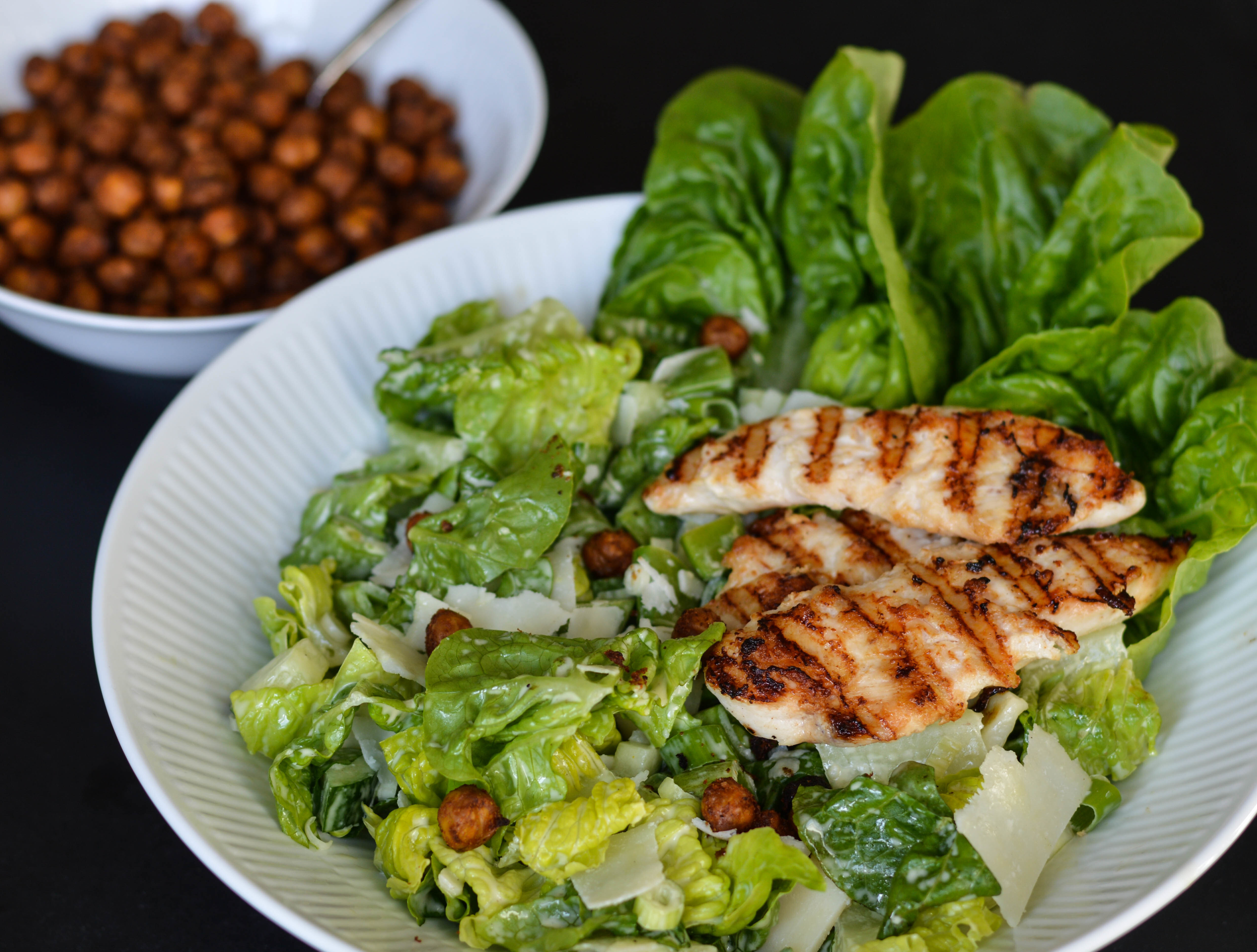 Caesar Salad with Homemade Dressing and Crispy Chickpeas
