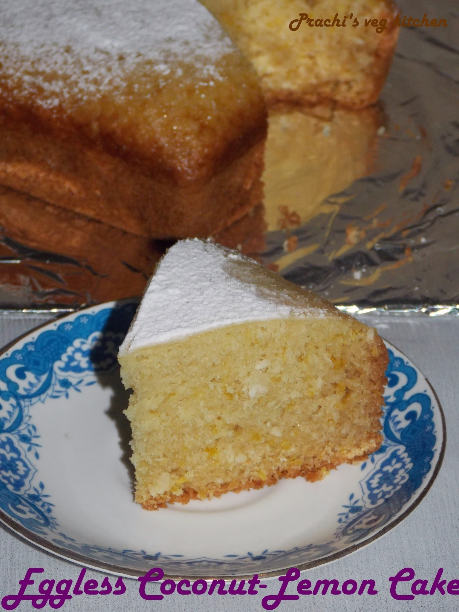Eggless Coconut-lemon Cake No butter, No oven