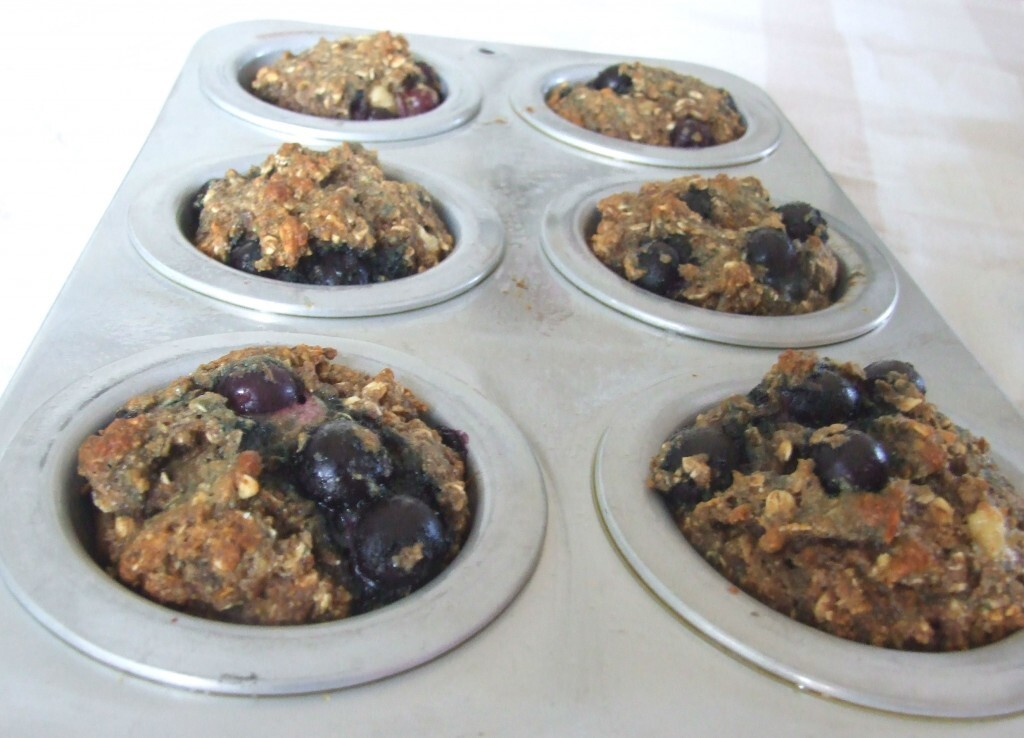 Hearty blueberry banana oat and flax muffins