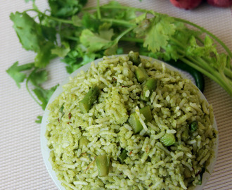 Cilantro Asparagus and Lime rice - Coriander asparagus and lime rice - Simple rice recipe - Simple lunch box recipe