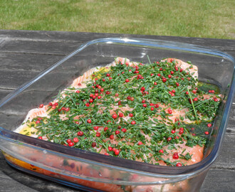 Gemarineerde zalm op de bbq of in de oven gegaard!
