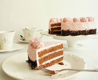 Raspberry Italian Meringue Buttercream and Chocolate Cake