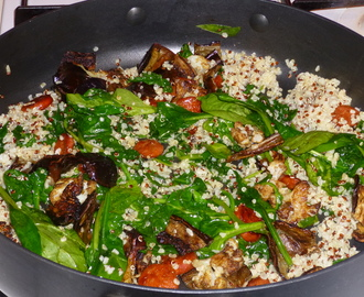 Chorizo, Bulgur Wheat and Spinach Salad with Roasted Eggplant and Cauliflower Recipe