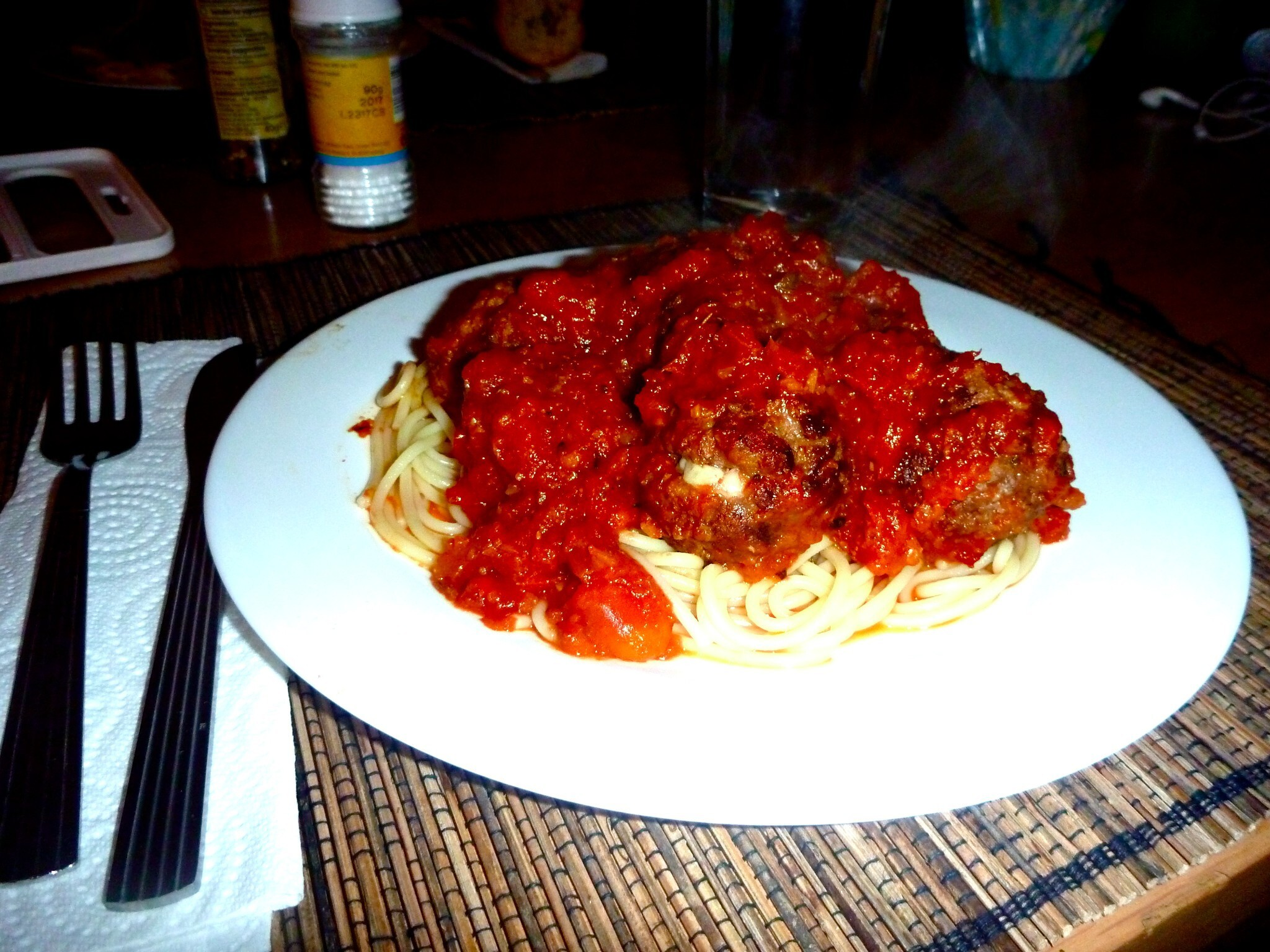 Mozzarella Stuffed Meatballs with Roasted Pepper Sauce