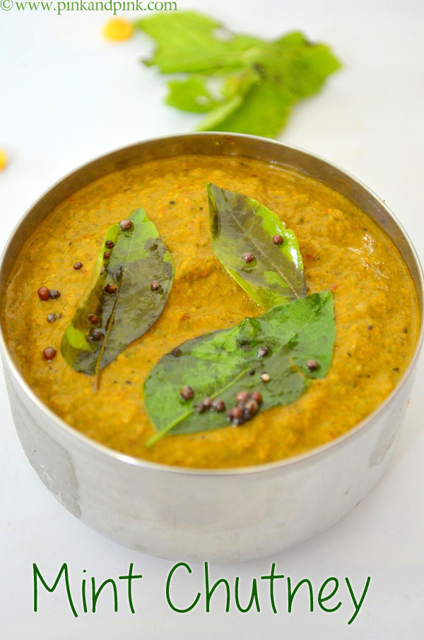 Pudina Chtuney Recipe with coconut and tomato - Indian Mint chutney recipe  - Pudina thogayal