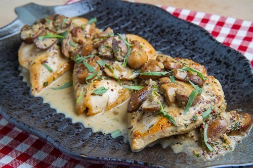 Pan Seared Chicken Breasts in a Mushroom, Tarragon and Mustard Pan Sauce