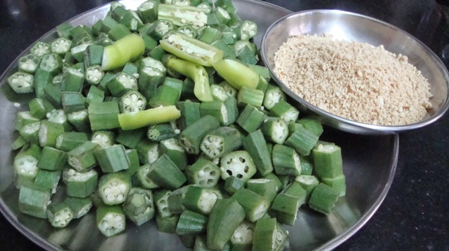 Bhindi Bhaji [ marathi style ] This Vegetable can be eaten during Fasts.