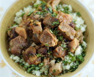 Lamb, Prunes and Quinces Tagine with Lemony Parsley Couscous